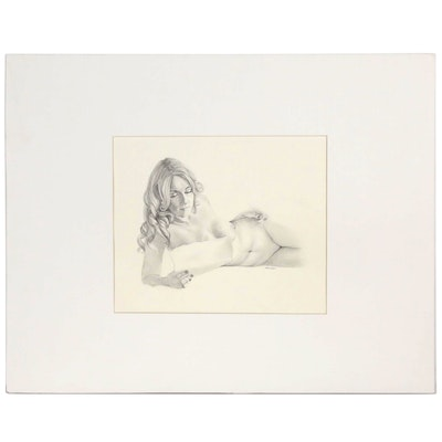 """Bruce Erikson Nude Graphite Drawing """"Study for 'Flaming June'"""""""