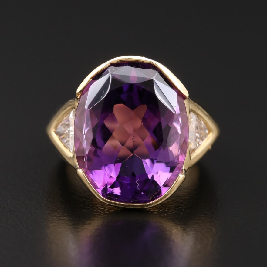 18K Gold 12.00 CT Amethyst and Diamond Ring