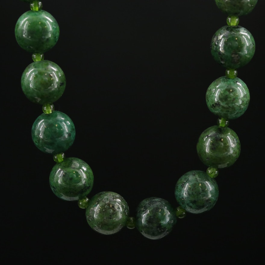 Quartzite and Quench Crackled Quartz Necklace with 14K Yellow Gold Clasp