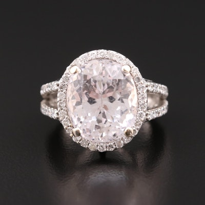 14K Gold 13.64 CT Kunzite and 1.12 CTW Diamond Ring