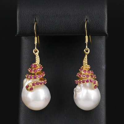 Sterling Silver Cultured Pearl and Ruby Earrings