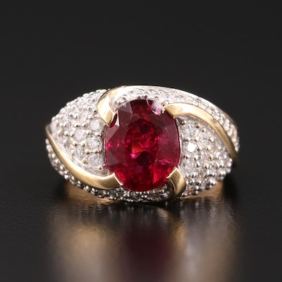 14K Gold 2.41 CT Rubellite and 1.47 CTW Diamond Ring