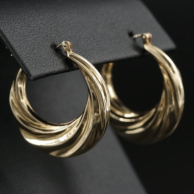 14K Gold Fluted Hoop Earrings