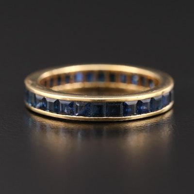 18K Gold Sapphire Eternity Band