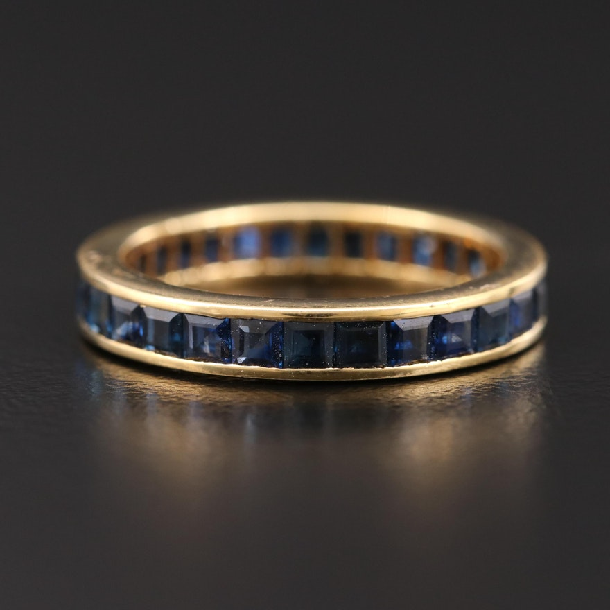18K Gold Sapphire Eternity Band
