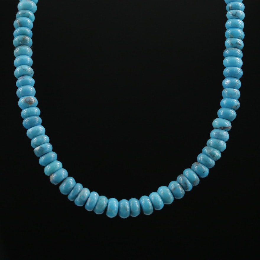 Turquoise Beaded Necklace with 14K Yellow Gold Clasp