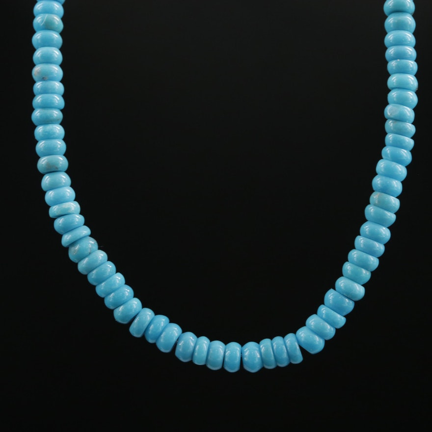 Beaded Turquoise Necklace With 14K Yellow Gold Clasp