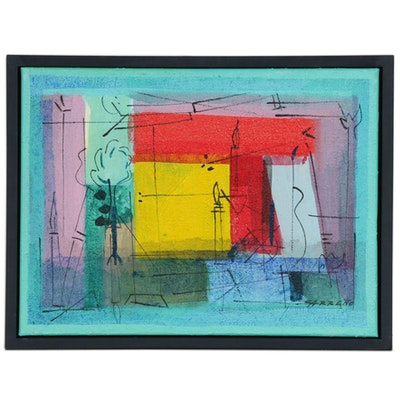 "Antonio Carreño Abstract Landscape Mixed Media Painting ""Future #6"", 2019"