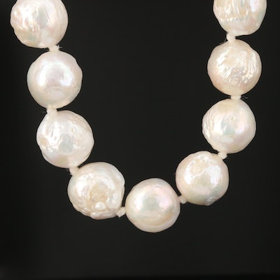 Cultured Pearl Necklace With 10K Yellow Gold Clasp