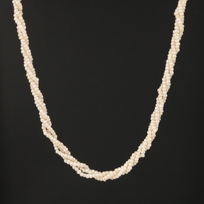 Seed Pearl Multi-Strand Necklace with 14K Yellow Gold Clasp