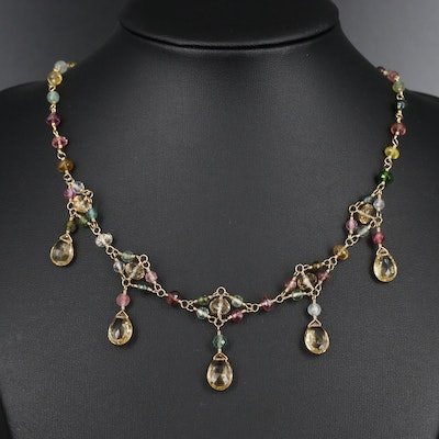18K Gold Citrine and Tourmaline Necklace