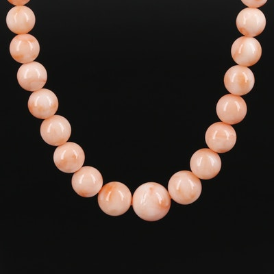 Graduated Coral Necklace with 18K Gold Clasp