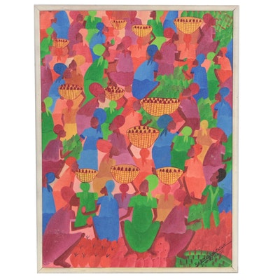 Raymond Lebrun Haitian Folk Art Oil Painting, 1983