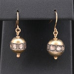 14K Yellow Gold and Sterling Silver Diamond Drop Earrings with 18K Ear Wires