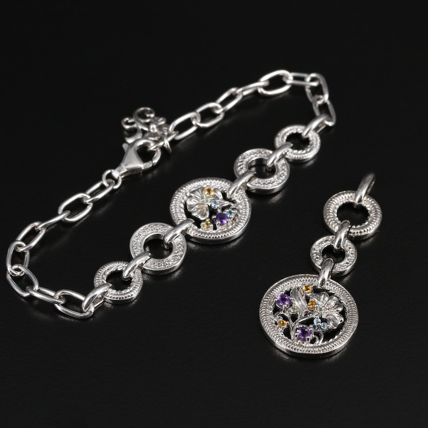 Sterling Silver Amethyst, Topaz and Citrine Bracelet and Pendant
