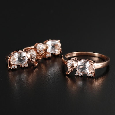 Sterling Silver Morganite and Cubic Zirconia Elephant Ring and Earrings