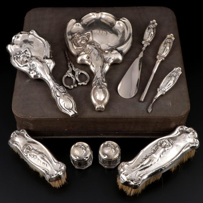 American Art Nouveau Sterling Silver Vanity Items with Presentation Case