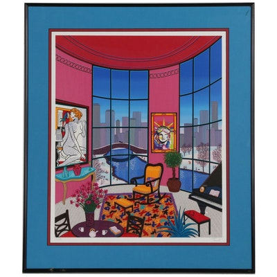 "Fanch Ledan Serigraph ""Interior with Lichtenstein"""