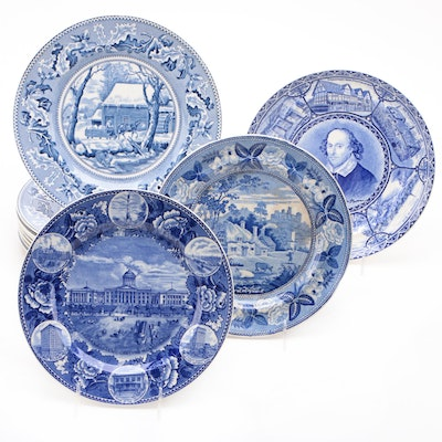 "Johnson Bros ""Historic America"" and Other Blue Transferware Plates"