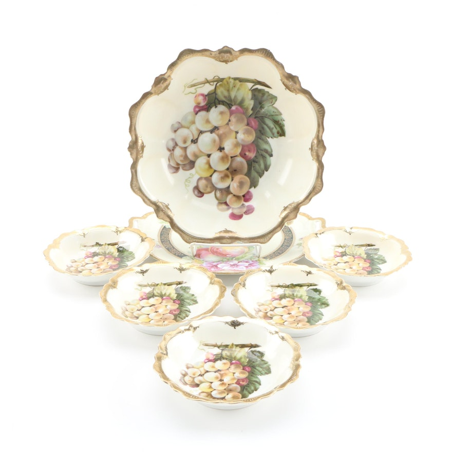 Hobbyist Hand-Painted Porcelain Bowls and Cake Plate, Early/Mid 20th Century