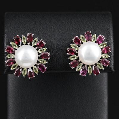 Sterling Silver Cultured Pearl, Peridot, and Garnet Earrings