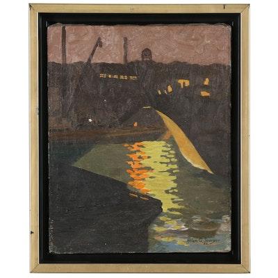 Allan G. Sawyer Nighttime Seascape Oil Painting, 1932