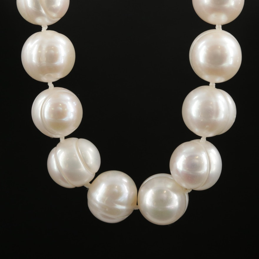 Pearl Necklace with 14K and 10K Yellow Gold Clasp