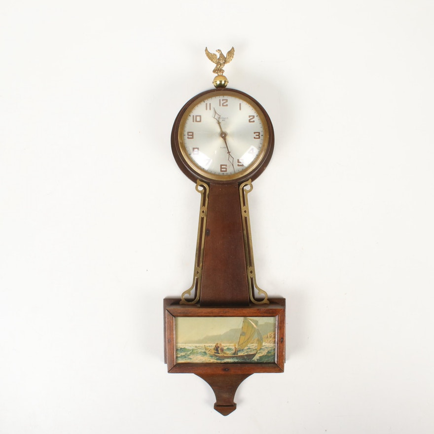 "Gilbert ""1807"" Eight Day Sailing Scene Banjo Wall Clock, c. 1920"