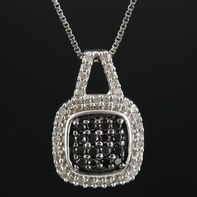 Sterling Diamond Pendant Necklace with Black Diamonds