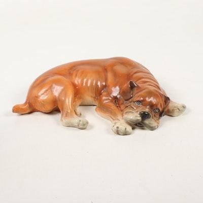 Marwal Glazed Chalkware Bull Dog Figurine, Vintage