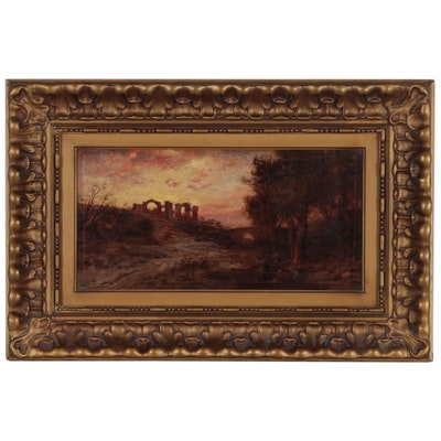 Luminist School European Landscape with Ruins Oil Painting