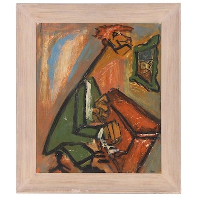 Modernist Oil Painting of Pianist, Late 20th Century