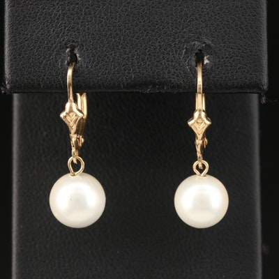 14K Imitation Pearl Drop Earrings