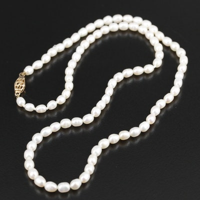 Hand Knotted Seed Pearl Strand Necklace with 14K Yellow Gold Clasp