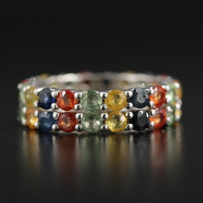 Sterling Silver Fancy Colored Sapphire Eternity Band