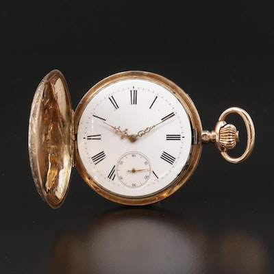 Swiss 14K Gold Hunting  Case Pocket Watch