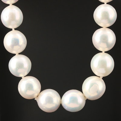 11.80 mm – 13.00 mm Pearl Graduated Knotted Necklace with 14K Yellow Gold Clasp
