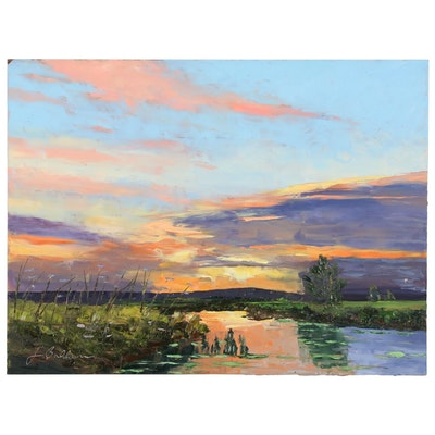 "James Baldoumas Oil Painting ""Sunset"""
