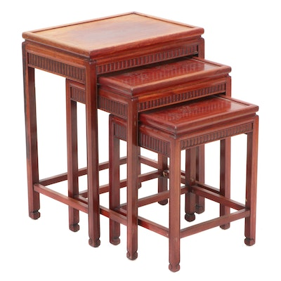 Chinese Style Mahogany Nesting Tables, Mid-20th Century