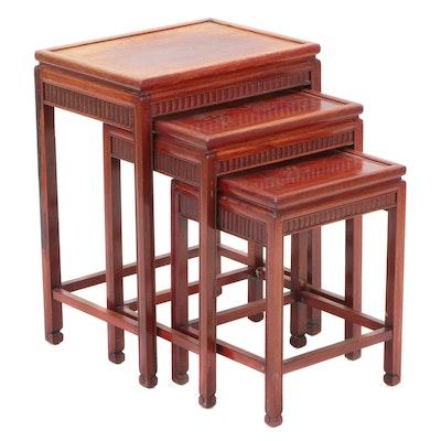 Chinese Style Mahogany Nesting Tables, Mid-20th Century