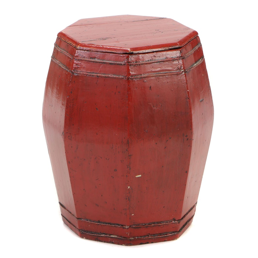 Chinese Style Red Lacquered Wood Drum Table