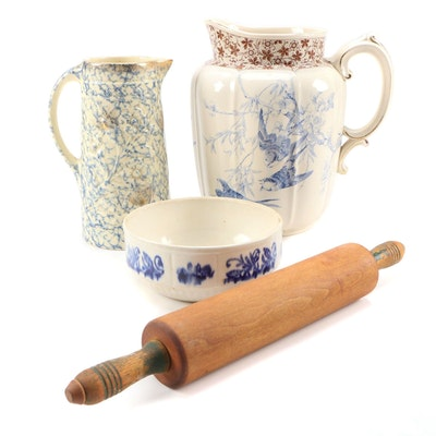Floral Motif Gilt Ceramic Pitchers with Ceramic Bowl and Wooden Rolling Pin
