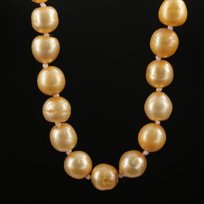 Cultured Pearl Necklace With 18K and 14K Yellow Gold Clasp