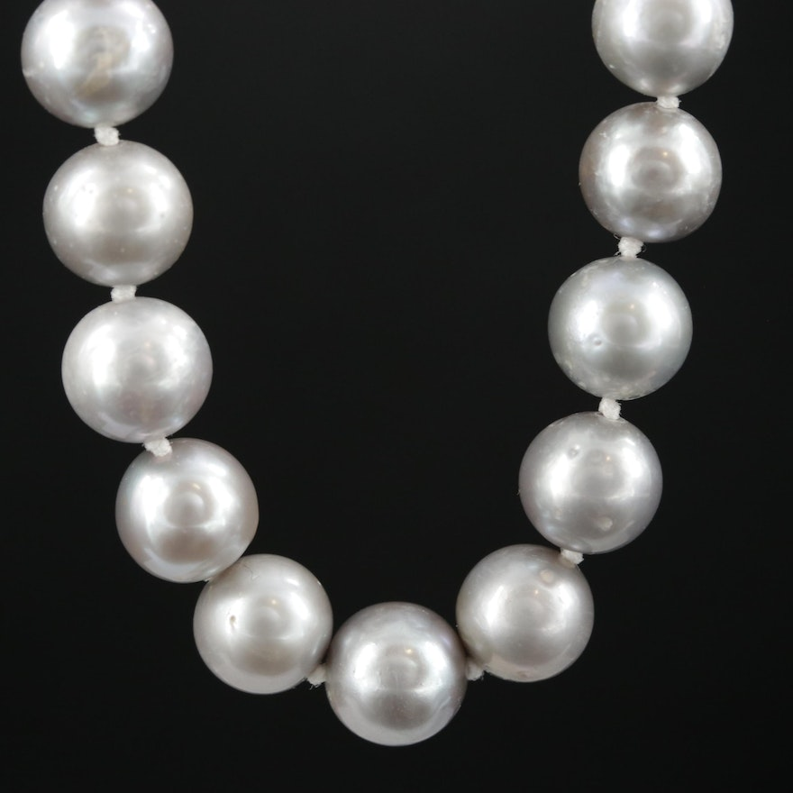 Strand of Gray Pearls with 14K Clasp