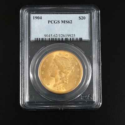 PCGS Graded MS62 1904 Liberty Head $20 Double Eagle Gold Coin