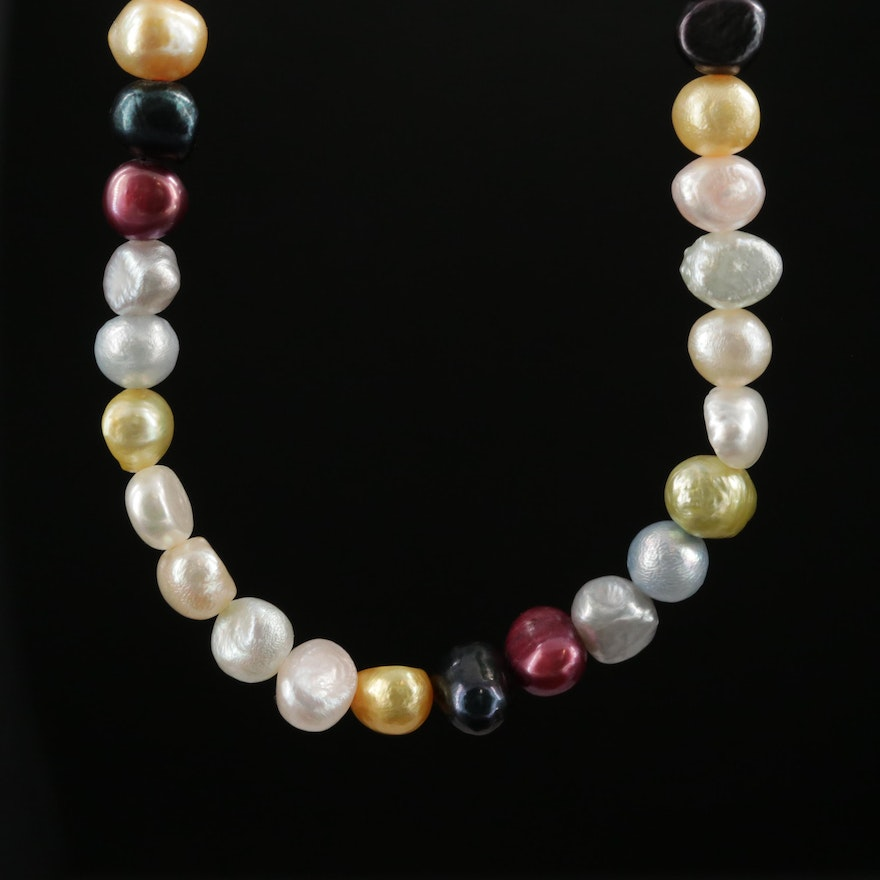 Strand of Multi Colored Pearls with 14K  Clasp