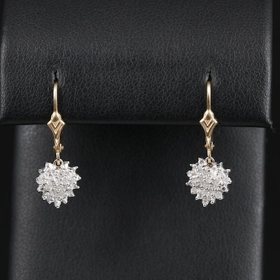10K Yellow Gold Diamond Drop Earrings