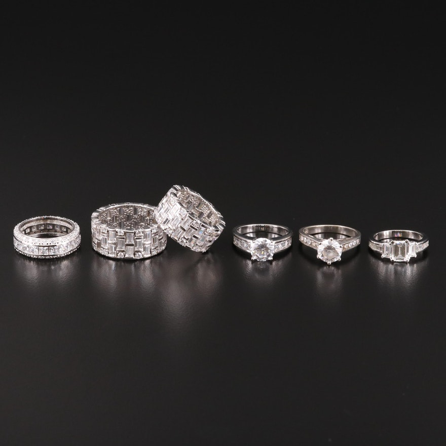 Sterling Silver Ring Selection Featuring Cubic Zirconia Accents