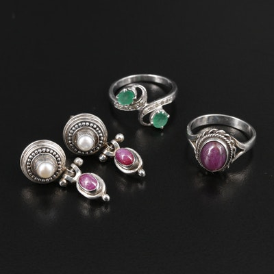 Sterling Silver Rings and Earrings Including Ruby, Diamond and Emerald