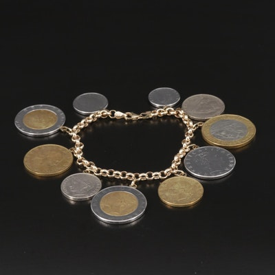 14K Gold Bracelet with Contemporary Italian Coin Charms
